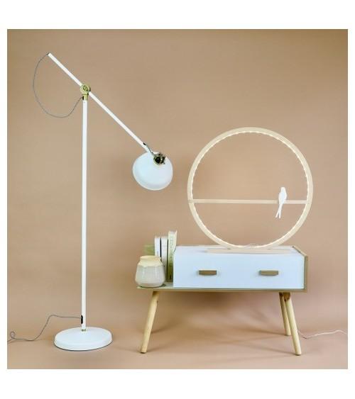 Lampe cercle en bois et hirondelle - Comme un rayon de soleil