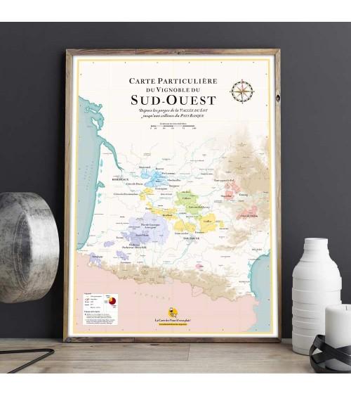 Affiche - Carte des vins Sud Ouest