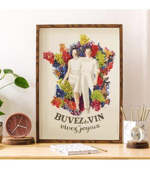 Affiche - Buvez du vin et Vivez joyeux