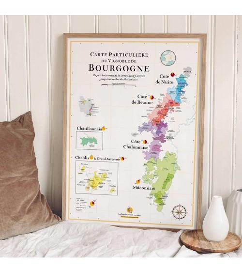 Affiche - Carte des vins de Bourgogne