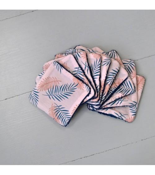 Lot de 10 lingettes lavables - Feuillage rose - Carotte et Cie