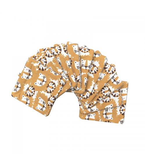 Lot de 10 lingettes lavables - Tigres et lions - Carotte et Cie