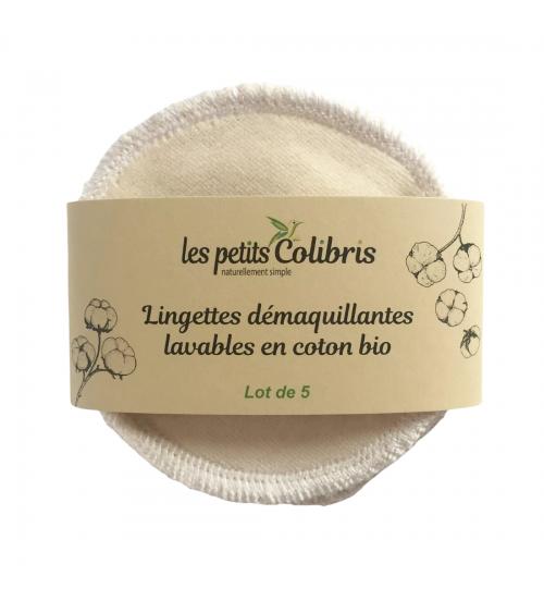 Lingettes démaquillantes Coton Bio - Lot de 5 - Les Petits Colibris