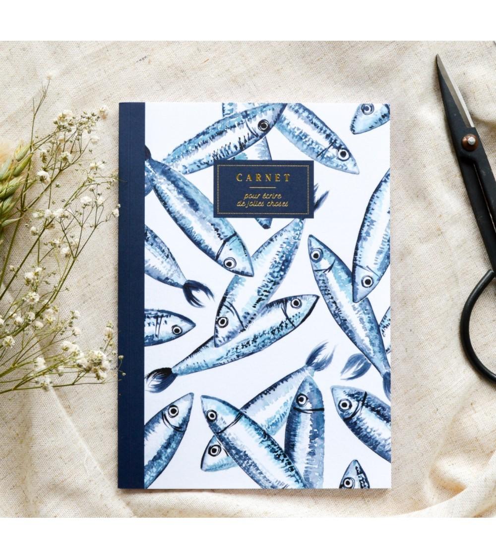 Carnet A5 Les Sardines - Bleu coquille