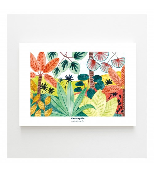 Affiche Ambiance Tropicale 30x40cm - Bleu Coquille