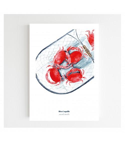 Affiche Le Panier de crabes A4 - Bleu coquille