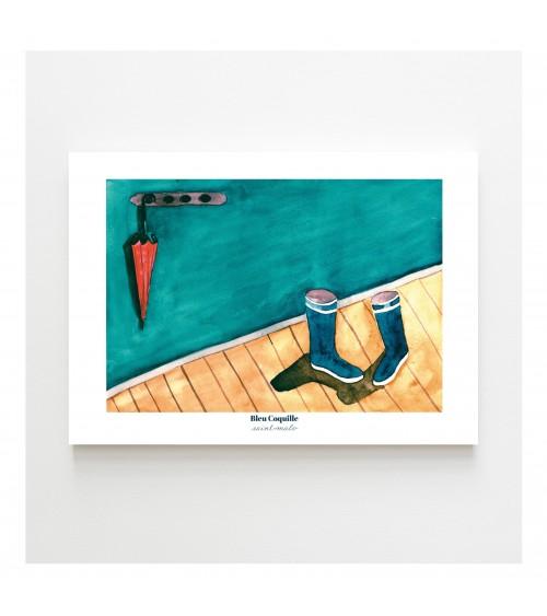Affiche Bottes et Parapluie A4 - Bleu coquille