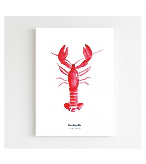 Affiche Le Homard Rouge A5 - Bleu Coquille